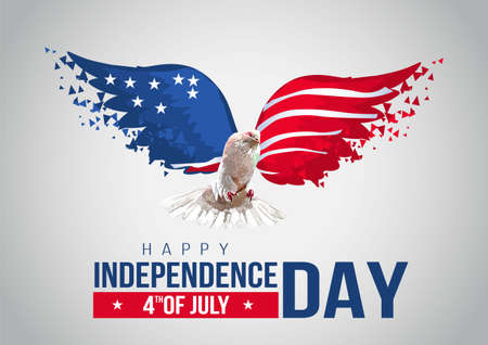 happy Independence Day background with pigeon and USA flag. Fourth of July celebration banner, poster, flyer, greeting card design. Memorial Day. stylish text. Vector illustration. Ilustrace