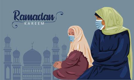 Ramadan Kareem. Women wear hijab. Muslim woman. Female hijab wear mask prevent virus, corona or COVID-19. Vector 일러스트