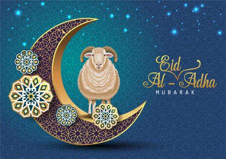 Eid Mubarak for the celebration of Muslim community festival Eid Al Adha. Greeting card with sacrificial sheep and crescent on lanterns background. Vector illustration.