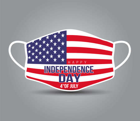 4th Of July USA Happy Independence Day Text. Coronavirus in United States. Graphic of surgical mask with american flag. Medical face mask as concept of coronavirus quarantine. Coronavirus outbreak.