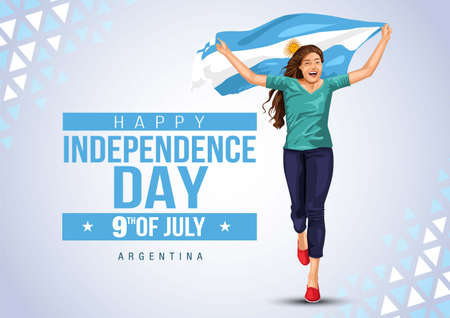 Front view. Girl with Argentinian flag runs in light background. Argentinia independence day 9th july. Happy independence day. Ilustração