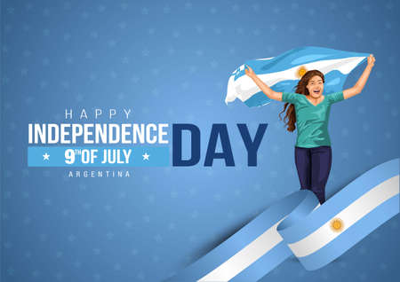 Front view. Girl with Argentinian flag runs in light background. Argentina independence day 9th july. Happy independence day. coronavirus, covid-19 concept. vector illustration Ilustração
