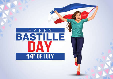 Cheerful beautiful young woman running with her hands spread up and holding blowing french flag. Creative vector Illustration,Card,Banner Or Poster For The French National Day.Happy Bastille Day