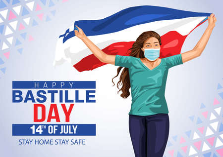 woman running with her hands spread up and holding blowing french flag. Creative vector Illustration,Card,Banner Or Poster For The French National Day.Happy Bastille Day. covid-19 corona virus concept 일러스트