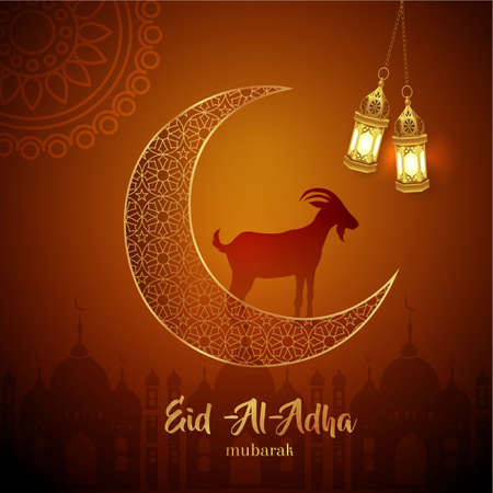 Eid Al Adha Mubarak the celebration of Muslim community festival background design with goat, crescent, and lanterns.Vector Illustration