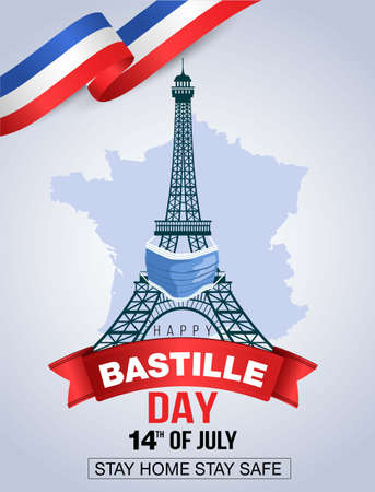 Happy Bastille Day, 14th of July, holiday greeting card in colors of the national flag of France with Eiffel tower and lettering. Vector illustration. coronavirus, covid-19 concept. 向量圖像