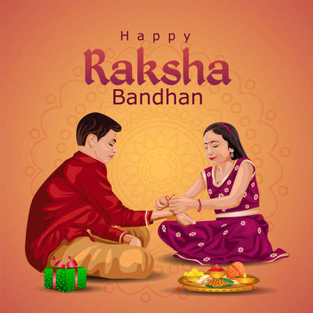Indian brother and sister festival happy Raksha Bandhan concept. Rakhi celebration in india vector illustration