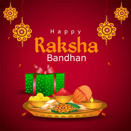 decorated rakhi for Indian festival Raksha Bandhan. using plate full of Bundi Laddu sweet with band, gift box and Pooja Thali. vector illustration Ilustração