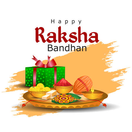 Happy Raksha Bandhan celebration concept. Beautiful decorated Thali, plate with Rakhi, Sweet and Earthen Lamp. vector illustration