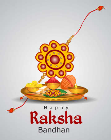 rakhi pooja thali for happy Raksha Bandhan. vector illustration.