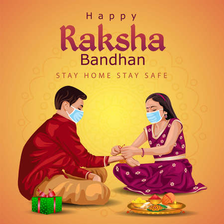 Indian brother and sister wearing surgical mask. happy Raksha Bandhan festival. Rakhi celebration in india vector illustration. covid-19 corona virus concept Ilustração