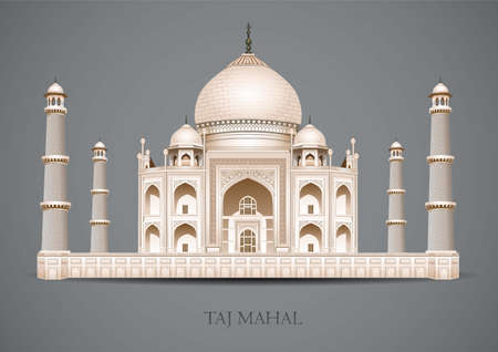 Taj Mahal on a gray background. indian culture architecture. Flat new style historic sight showplace attraction web site vector illustration. mausoleum in Agra