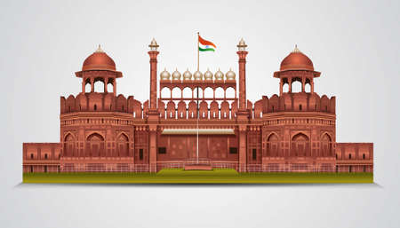 Red Fort in New Dehli, India. stylish historic sight showplace attraction vector illustration. Vecteurs