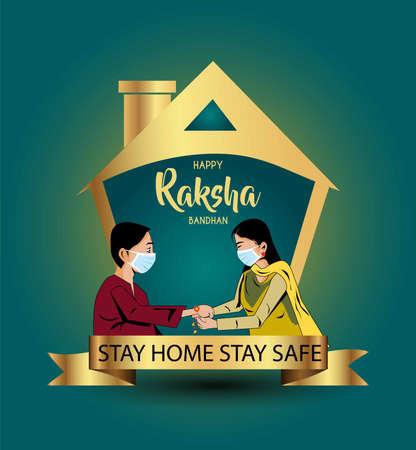 Stay home stay safe.Vector illustration of Indian festival of brother and sister love, Happy Raksha Bandhan celebration. Virus covid-19 concept. Vector Illustration