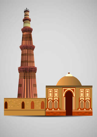 front view of Qutub Minar New Delhi, India, The tallest minaret in India is a marble and red sandstone tower that represents the beginning of Muslim rule in the country. vector illustration.