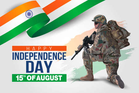 illustration of 15th of august background for Happy Independence Day of India. a soldier with gun and flag. Vector illustration.