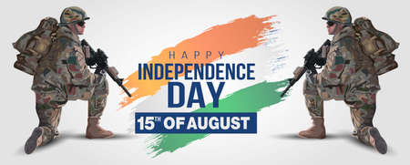 illustration of 15th of august background for Happy Independence Day of India. two soldier with gun and flag. Vector illustration. Illustration