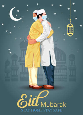 Eid-Al-Fitr Mubarak poster or banner design with illustration of young men hugging each other in occasion of Islamic Festival Eid Mubarak. corona virus, covid-19 concept