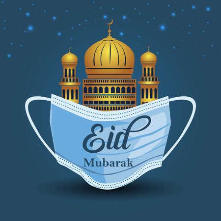 Eid mubarak writing on surgical mask and golden mosque background. coronavirus, covid-19 background