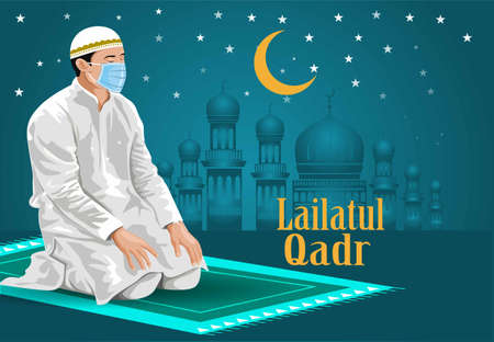 Man praying on his knees, with eyes closed. wear surgical mask, Ramadan Kareem, Lailatul Qadr typography greeting card beautiful design with shilloute moon and stars. coronavirus, covid-19 concept