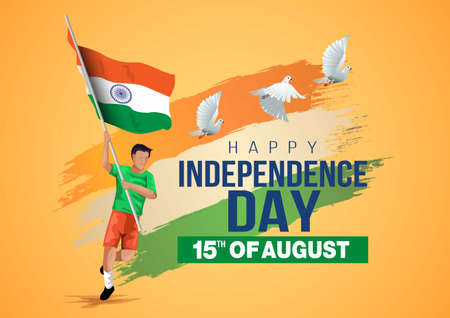 happy independence day India. vector illustration of Indian man with flag.poster, banner , template design