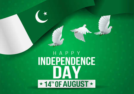 Celebrating Pakistan happy Independence Day. Abstract waving flag and pigeon on green background