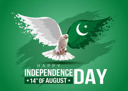 Celebrating Pakistan happy Independence Day. Abstract wings flag and pigeon on green background Vettoriali
