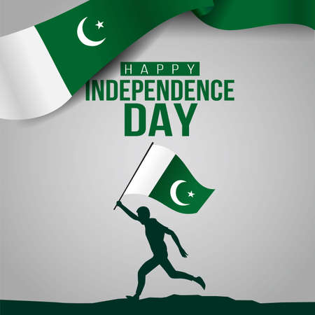 pakistan happy independence day ,14th august Vector Illustration. silhouette man running with flag Ilustração
