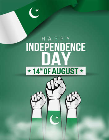 pakistan happy independence day ,14th august Vector Illustration. Flag of Pakistan hand design.