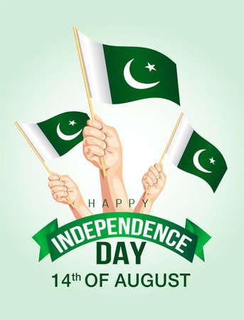 happy independence day Pakistan light background. Vector illustration of human hands Holding Up pakistan Flags Ilustração
