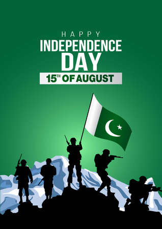 happy independence day pakistan. vector illustration of pakistan army with flag