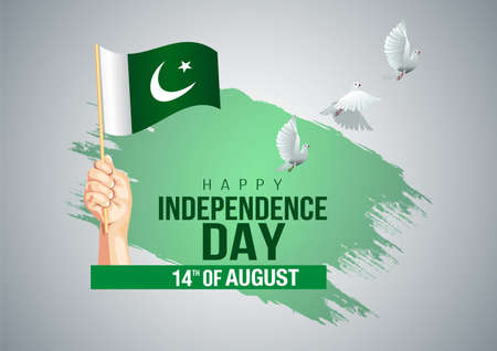 happy Independence day Pakistan 14th august. vector illustration.greeting card.