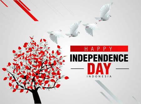 happy independence day indonesia 17th august. pigeon flying with flag colored tree. vector illustration Vettoriali
