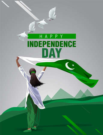 pakistan Girl waving flag her hands. 14 August Happy Independence day celebration concept. can be used as poster or banner design. vector illustration. 矢量图像