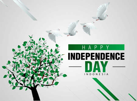 happy independence day Pakistan 14th august. pigeon flying with flag colored tree. vector illustration