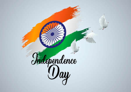 happy independence day India. poster, banner, template design. indian flag brushed and flying pigeon background. vector illustration