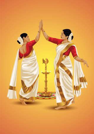 Thiruvathira,a traditional dance from Kerala. vector illustration