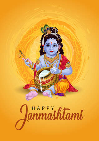 Little Krishna with flute and pot, happy Janmashtami background. vector illustration Vector Illustration