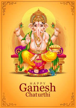 Lord Ganpati on Ganesh Chaturthi background. vector illustration. indian traditional festival.