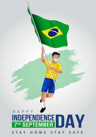 7th September Brazil Independence Day Banner Vector Illustration. man running with Brazilian flag. covid corona virus concept Ilustracja