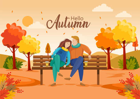cute couple sitting on bench. Hello Autumn Vector illustration with beautiful landscape.