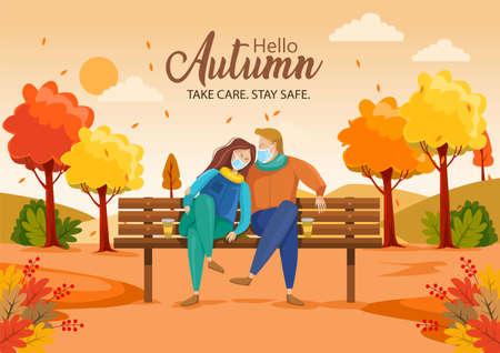 cute couple sitting on bench. Hello Autumn Vector illustration with beautiful landscape. covid corona virus concept 矢量图像