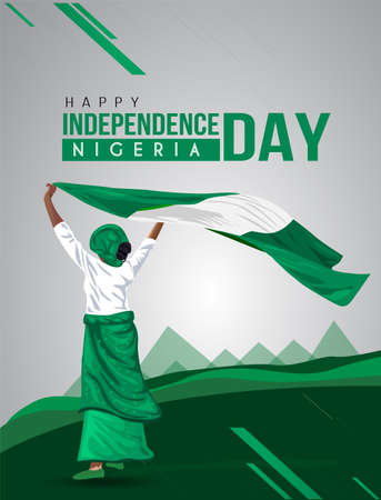 Nigerian Girl waving flag her hands. 1st october Happy Independence day celebration concept. can be used as poster or banner design. vector illustration. Banco de Imagens - 155922775