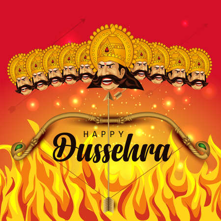 Happy Dussehra indian festival design ravan face vector illustration Illusztráció