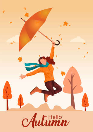 cute jump with umbrella . Hello Autumn Vector illustration with beautiful nature background.