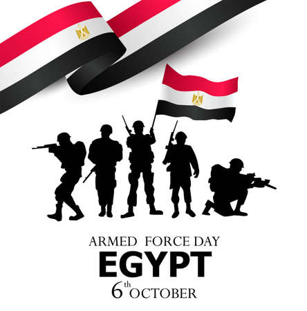 happy armed force day egypt. vector illustration of egyptian army with flag. white background Vettoriali