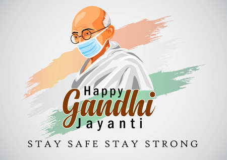 happy gandhi  jayanti vector illustration. covid19, corona virus concept Illustration