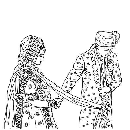 beautiful Indian couple in wedding Satphera ceremony. vector illustration drawing Ilustración de vector