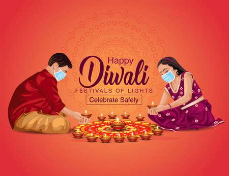 happy Diwali greetings vector illustration. illustration of children's making Rangoli and diya decoration. covid corona virus concept.