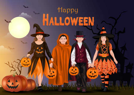 Kids walking on Halloween trick or treat. Halloween costumes with candy bags. Child costume. vector illustration